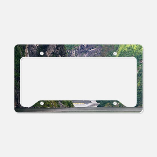 Cruise ship in a fjord, Norwa License Plate Holder
