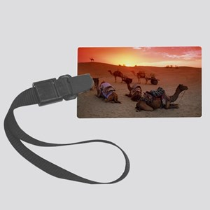 Camel caravan settling down for  Large Luggage Tag