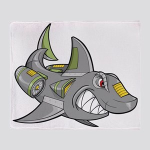 Robot Shark Throw Blanket