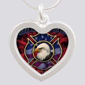 American Firefighter Lightni Silver Heart Necklace