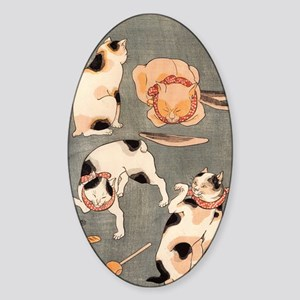 Japanese Cats Sticker (Oval)