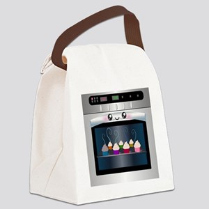 Cute Happy Oven with cupcakes Canvas Lunch Bag