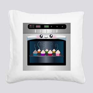 Cute Happy Oven with cupcakes Square Canvas Pillow