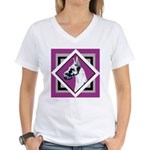 Harlequin Great Dane design Women's V-Neck T-Shirt