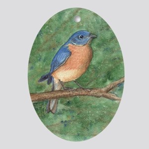 Blue Bird Oval Ornament