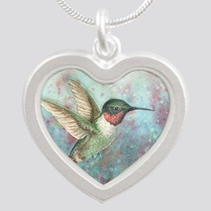Hummingbird Silver Heart Necklace