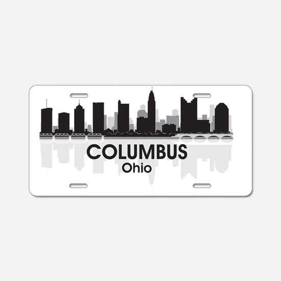 Columbus Skyline Aluminum License Plate