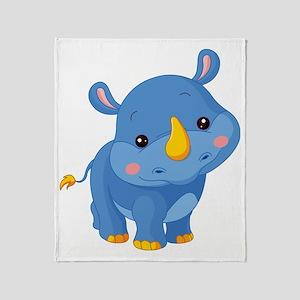 Cute Baby Rhino Throw Blanket
