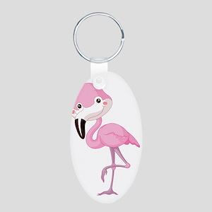 Cute Baby Flamingo Aluminum Oval Keychain