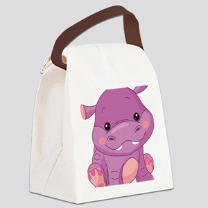 Cute Baby Hippo Canvas Lunch Bag