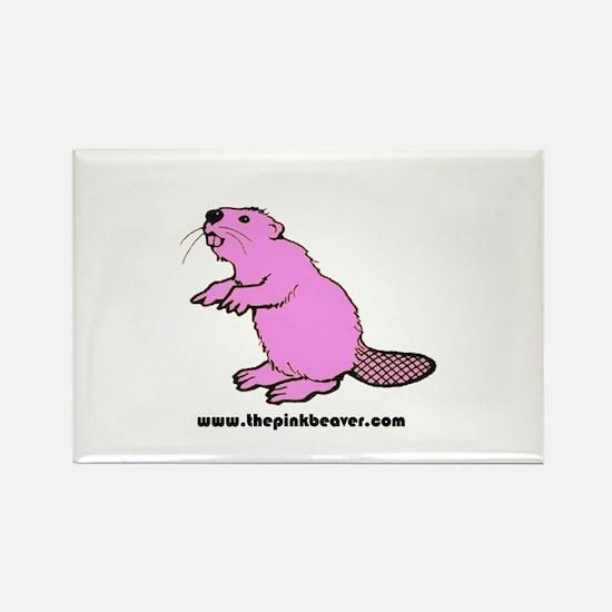 Pink Beaver Rectangle Magnet
