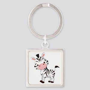 Cute Baby Zebra Square Keychain