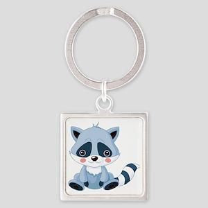 Cute Baby Raccoon Square Keychain
