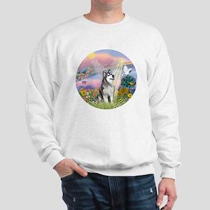Cloud Angel-Alaskan Malamute (blue) Sweatshirt