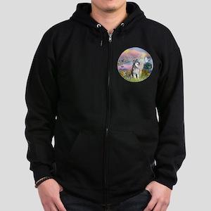 Cloud Angel-Alaskan Malamute (bl Zip Hoodie (dark)