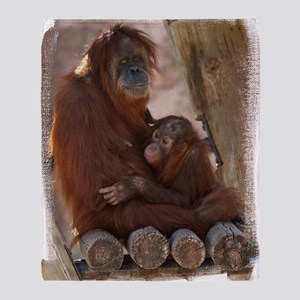 (16) Orang Mother and Child 7374 Throw Blanket