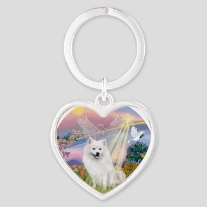 American Eskimo Dog Heart Keychain