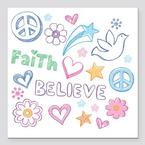 "Peace, Faith, Love, Beli Square Car Magnet 3"" x 3"""