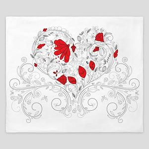 Romantic Floral Heart King Duvet