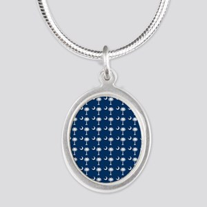 South Carolina Palmetto Moon  Silver Oval Necklace