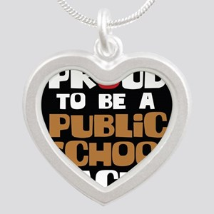 Proud To Be A Public School  Silver Heart Necklace