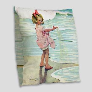 A Child at the Beach_SQ Burlap Throw Pillow