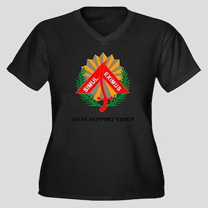 101st Suppor Women's Plus Size Dark V-Neck T-Shirt