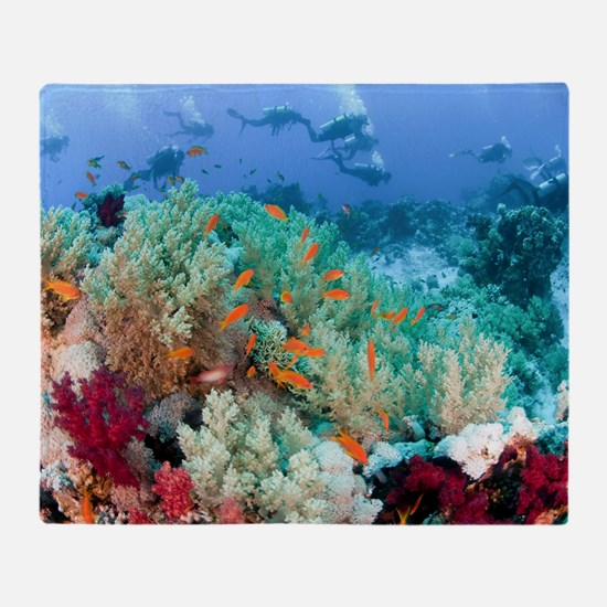 Coral Reef Red Sea, Ras Mohammed Throw Blanket