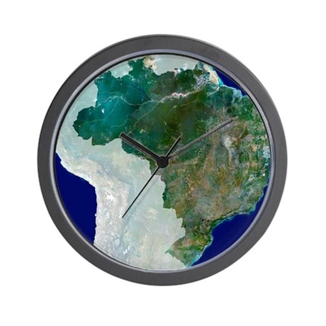 Brazil, satellite image Wall Clock