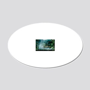 Bulldozing a rainforest, Haw 20x12 Oval Wall Decal