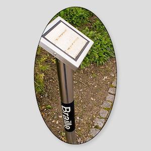 Braille sign in botanical garden Sticker (Oval)