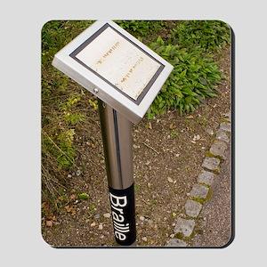 Braille sign in botanical garden Mousepad