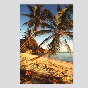 Beach with palm trees Postcards (Package of 8)