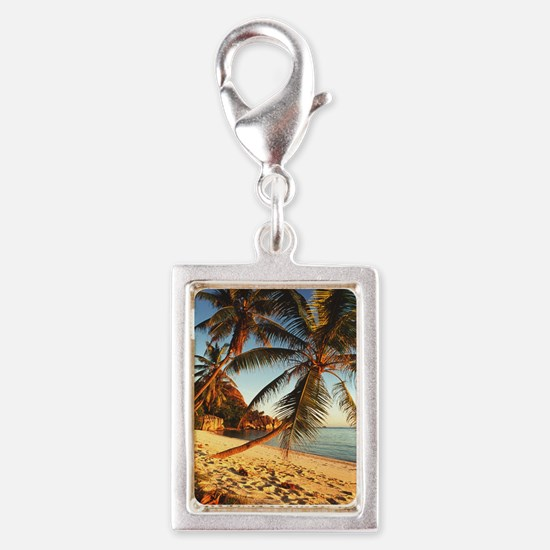 Beach with palm trees Silver Portrait Charm