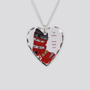ski boot Necklace Heart Charm