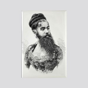 Bearded lady, 19th century Rectangle Magnet