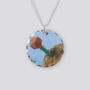 Bacteriophages attacking bac Necklace Circle Charm