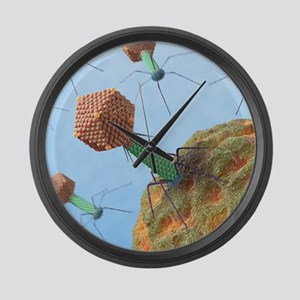 Bacteriophages attacking bacteria Large Wall Clock