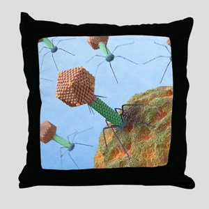 Bacteriophages attacking bacteria Throw Pillow