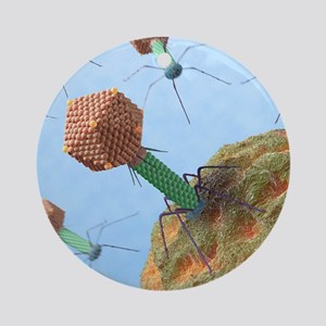 Bacteriophages attacking bacteria Round Ornament