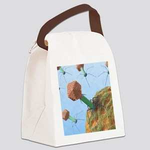 Bacteriophages attacking bacteria Canvas Lunch Bag