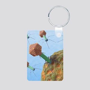 Bacteriophages attacking b Aluminum Photo Keychain