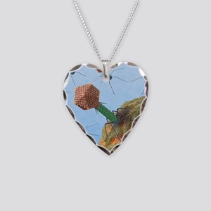 Bacteriophages attacking bact Necklace Heart Charm
