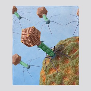 Bacteriophages attacking bacteria Throw Blanket
