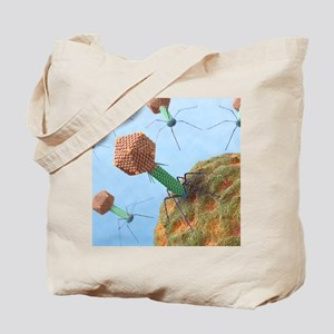 Bacteriophages attacking bacteria Tote Bag