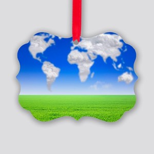 Cloud world map, artwork Picture Ornament