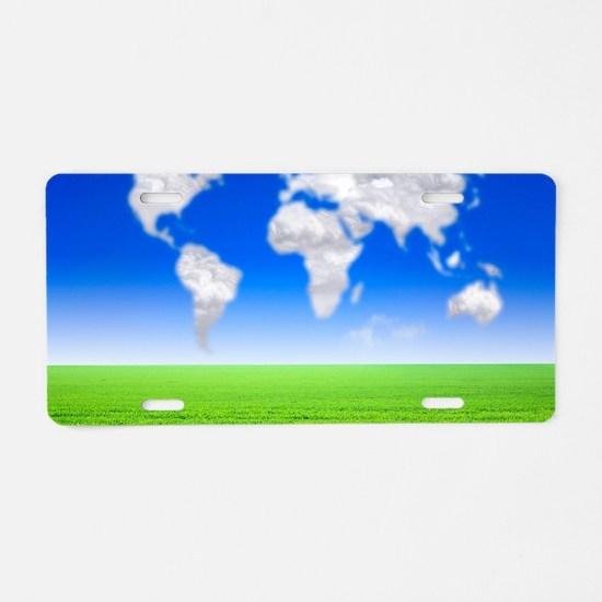 Cloud world map, artwork Aluminum License Plate