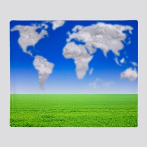 Cloud world map, artwork Throw Blanket