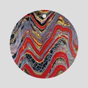 Banded iron formation Round Ornament