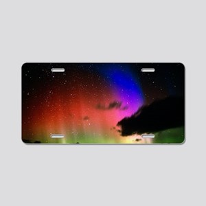 Aurora Borealis display wit Aluminum License Plate
